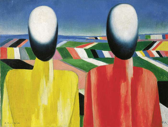 Kazimir Malevich, Peasants, c. 1930, Oil on canvas, 53 x 70 cm, State Russian Museum, St. Petersburg. Photo © 2016, State Russian Museum, St. Petersburg