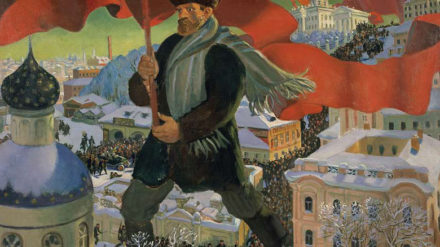 Boris Mikailovich Kustodiev, Bolshevik, 1920, Oil on canvas, 101 x 140.5 cm, State Tretyakov Gallery, Photo © State Tretyakov Gallery. All images supplied by Royal Academy of Arts